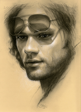 Nice drawing of Sam! It's like DaVinci took a crack at a Sam portrait! From the Deviant Art fan art site.