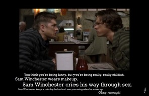 Sam Winchester cries his way through sex.