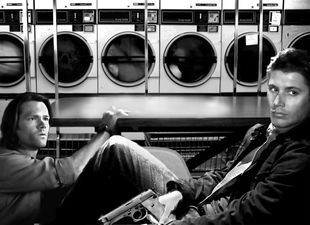 My version of Sam & Dean doing laundry...wonder what they're looking at off to the right?