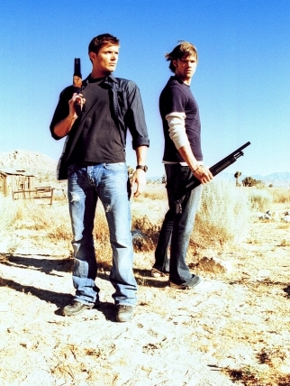 Who needs water in the desert when you have guns? Poor Sam always has to stand about 4 feet behind Dean so he doesn't look so tall.