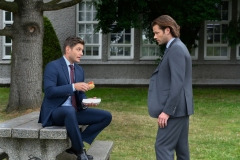 "Supernatural -- ""Atomic Monsters"" -- Image Number: SN1501a_0301r.jpg -- Pictured (L-R): Jensen Ackles as Dean and Jared Padalecki as Sam -- Photo: Diyah Pera/The CW -- © 2019 The CW Network, LLC. All Rights Reserved."