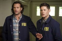 "Supernatural -- ""Raising Hell"" -- Image Number: SN1503A_0100b.jpg -- Pictured (L-R): Jared Padalecki as Sam and Jensen Ackles as Dean -- Photo: Colin Bentley/The CW -- © 2019 The CW Network, LLC. All Rights Reserved."