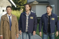 "Supernatural -- ""Raising Hell"" -- Image Number: SN1503A_0285b.jpg -- Pictured (L-R): Misha Collins as Castiel, Jared Padalecki as Sam and Jensen Ackles as Dean -- Photo: Colin Bentley/The CW -- © 2019 The CW Network, LLC. All Rights Reserved."