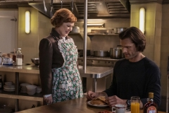 "Supernatural -- ""Last Holiday"" -- Image Number: SN1514A_0163r.jpg -- Pictured (L-R): Meagen Fay as Mrs. Butters and Jared Padalecki as Sam -- Photo: Colin Bentley/The CW -- © 2020 The CW Network, LLC. All Rights Reserved."