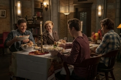 "Supernatural -- ""Last Holiday"" -- Image Number: SN1514B_0057r.jpg -- Pictured (L-R): Jensen Ackles as Dean, Meagen Fay as Mrs. Butters, Alexander Calvert as Jack and Jared Padalecki as Sam -- Photo: Colin Bentley/The CW -- © 2020 The CW Network, LLC. All Rights Reserved."