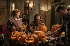 "Supernatural -- ""Last Holiday"" -- Image Number: SN1514B_0108r.jpg -- Pictured (L-R): Meagen Fay as Mrs. Butters, Jared Padalecki as Sam and Jensen Ackles as Dean -- Photo: Colin Bentley/The CW -- © 2020 The CW Network, LLC. All Rights Reserved."